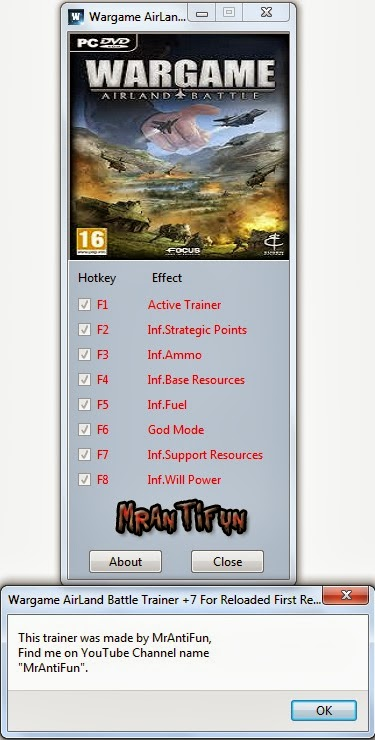 Wargame AirLand Battle Trainer +7 For Reloaded First Release v130529 MrAntiFun