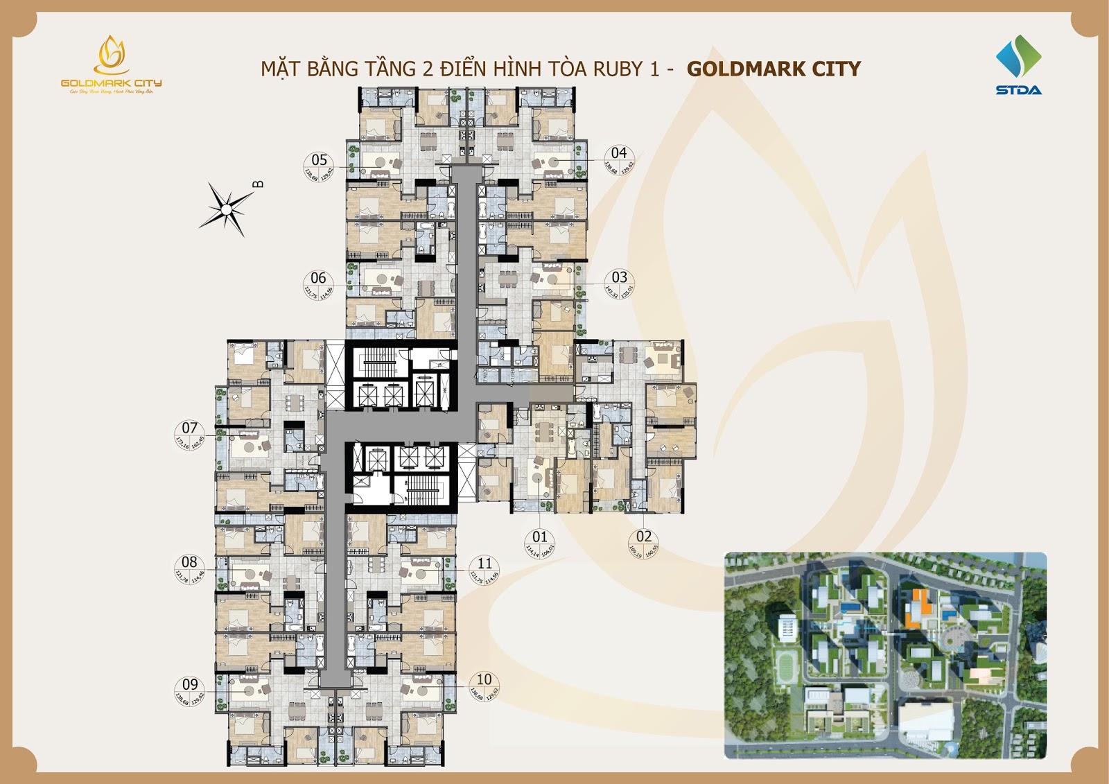Mặt Bằng 3D Chung Cư Goldmark City Ruby 1
