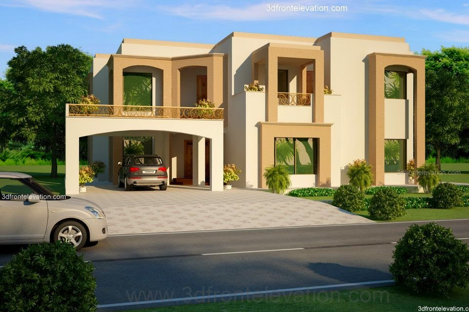 3d front 2 1 kanal lahore pakistani house for Pakistani new home designs exterior views