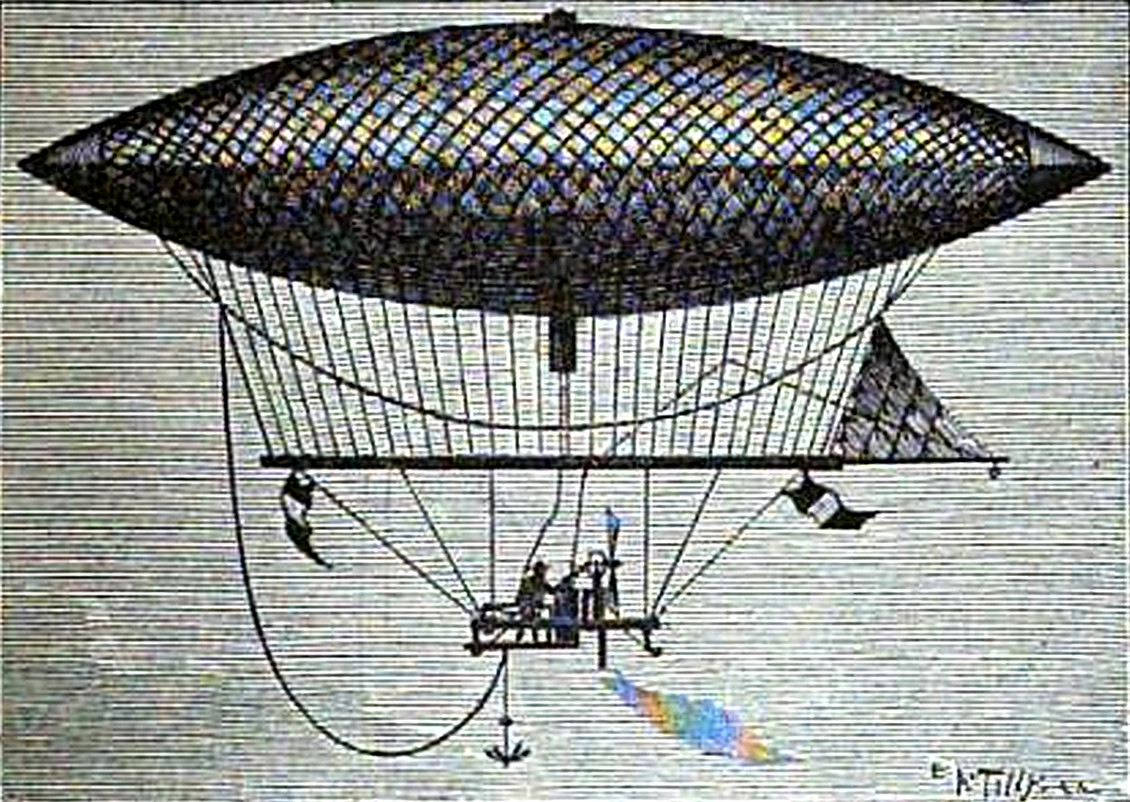 First Airship Powered by an Engine