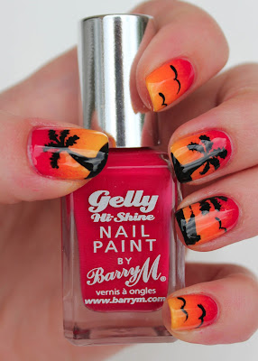 Sunset nail art with Barry M Pomegranate