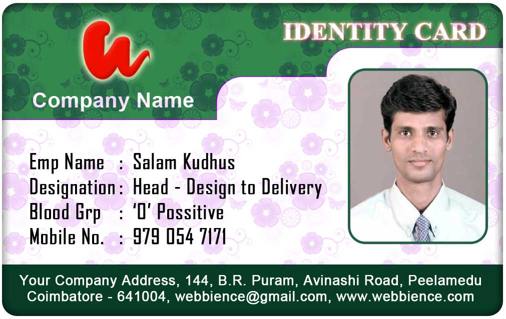 Employee Identity Card Template  Membership Id Card Template