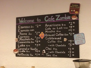 Cafe Zombie (inside Zombie Runner) Drink Menu