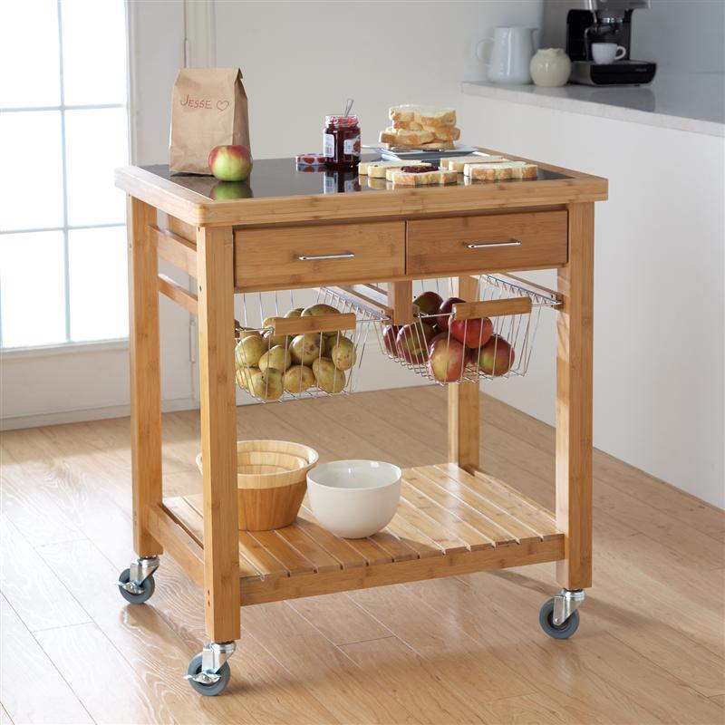 Marvelous Bamboo Kitchen Cart