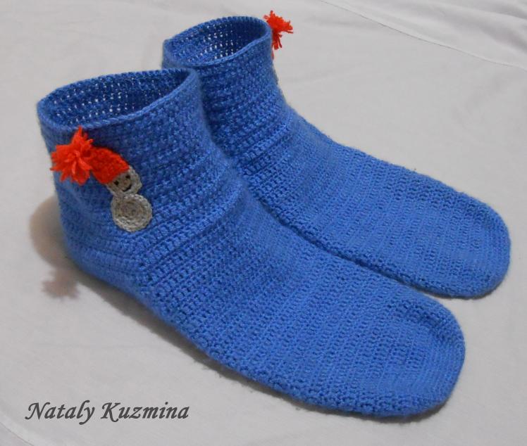Вязание крючком носков мужских 64