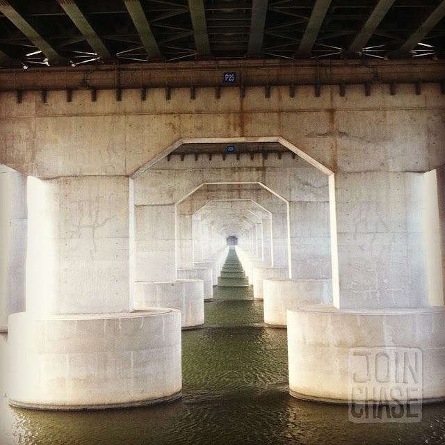 Under a bridge on the Han River in Seoul, South Korea.