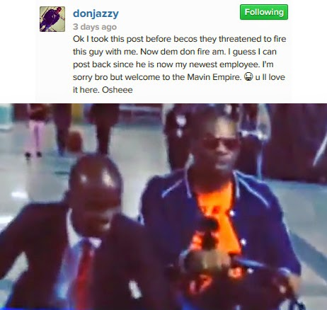 don jazzy hired airport staff