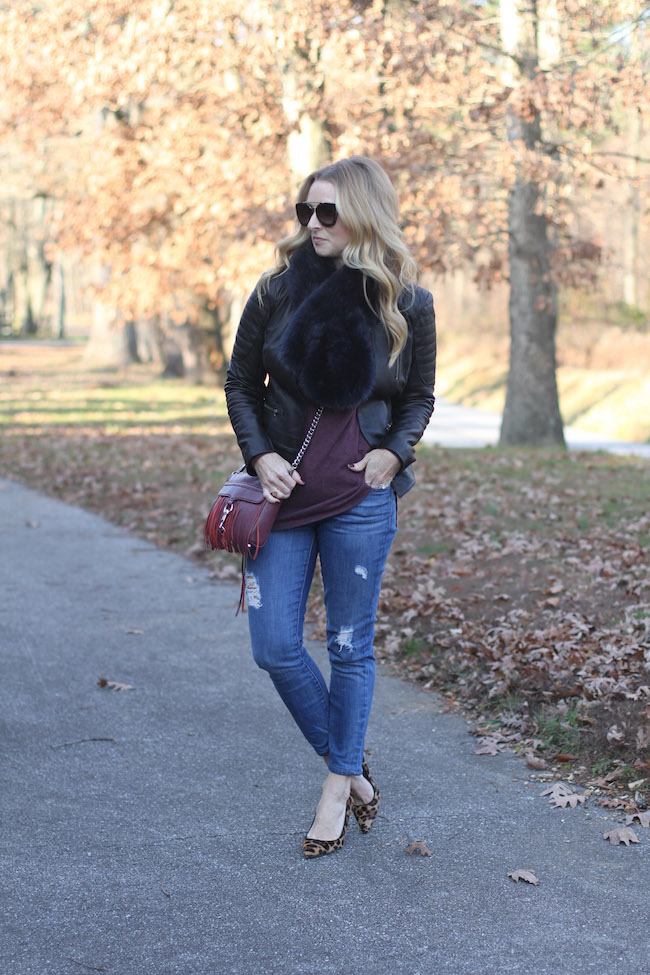 faux fur stole, halogen jacket, current elliot jeans, rebecca minkoff handbag, leopard heels