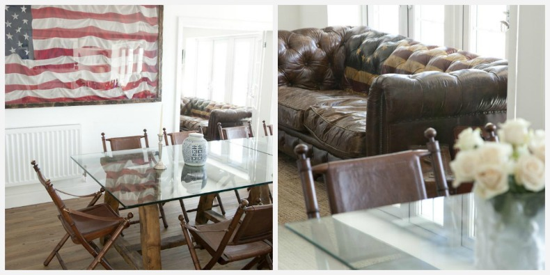 Coastal family room with distressed leather sofa and americana touches