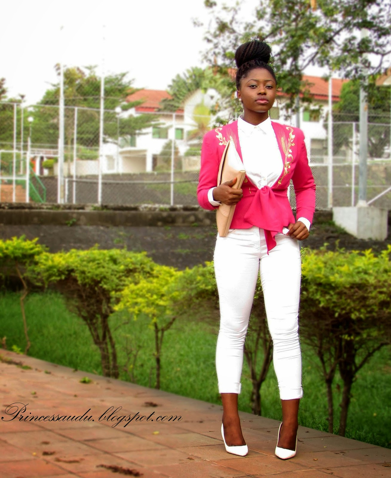 Pink blazer, all white , white pumps