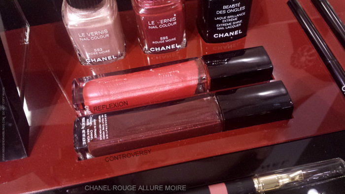 Chanel Rouge Allure Moire Makeup Collection Rouge Allure Extrait de Gloss Reflexion 71 Controversy 72 Rose Moire Nail Polish 595 Rouge 593 Photos