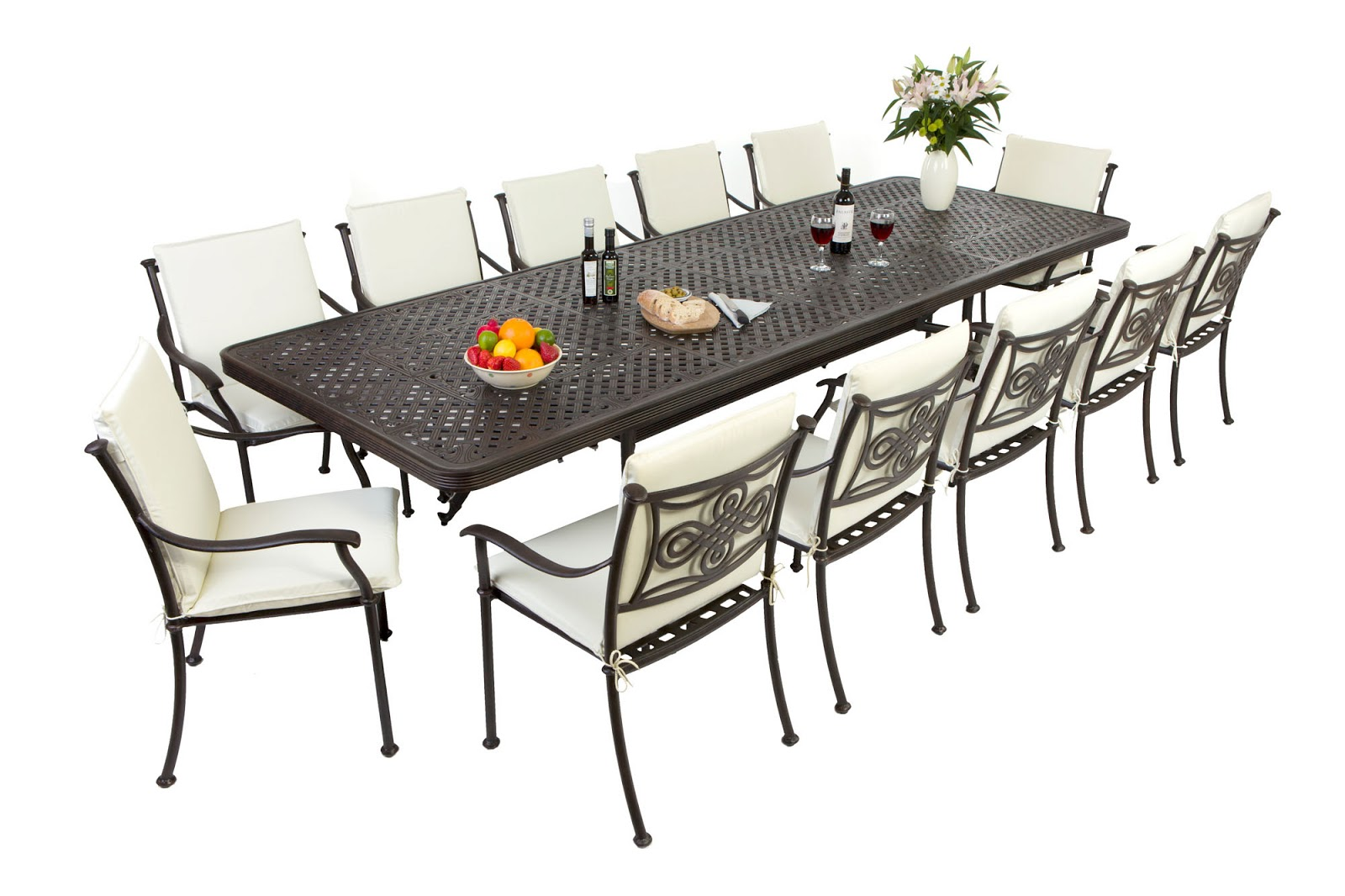 Outside edge garden furniture blog the biggest extending cast aluminium garden furniture set in Metal garden furniture sets