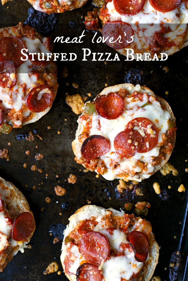 Meat Lover's Stuffed Pizza Bread | thetwobiteclub.com | #FallforFlavor #ad