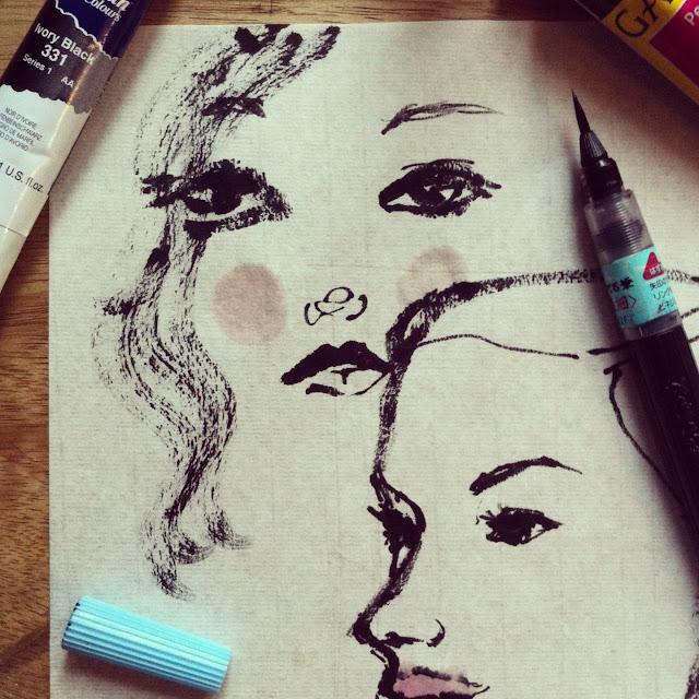 Daisy Great Gatsby ink sketch