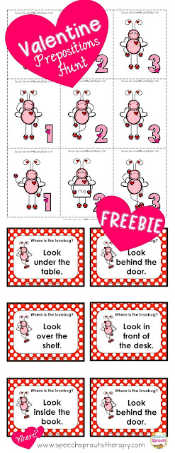 FREE! Go on a Valentine hunt for prepositions/ positional concepts and addition too. Find the Lovebugs and add up your points! www.speechsproutstherapy.com