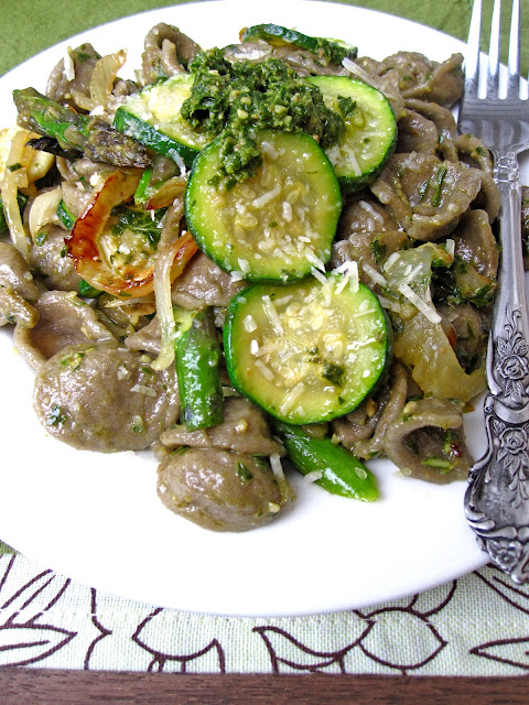 ... Toasted wheat orecchiette with zucchini, fennel, asparagus and pesto