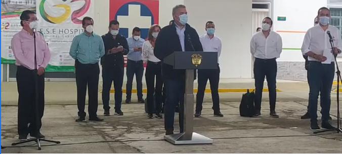 Presidente Iván Duque entregó oficialmente el servicio de camas UCI e intermedias en el hospital de Málaga