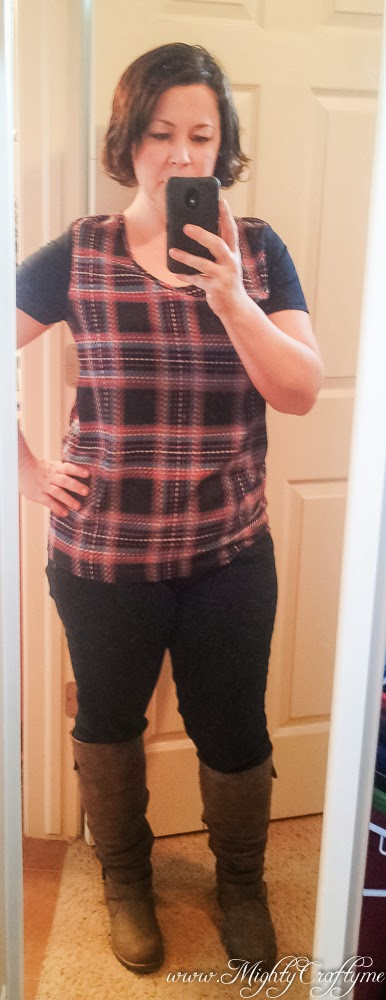 Feb. 2014 Stitch Fix review -- Plaid Print Short Sleeve Blouse by Collective Concepts -- www.MightyCrafty.me