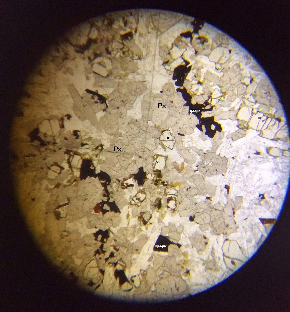 Pyroxene in thin section PPL