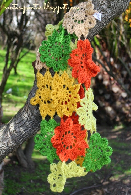 gola em crochet, flores japonesas