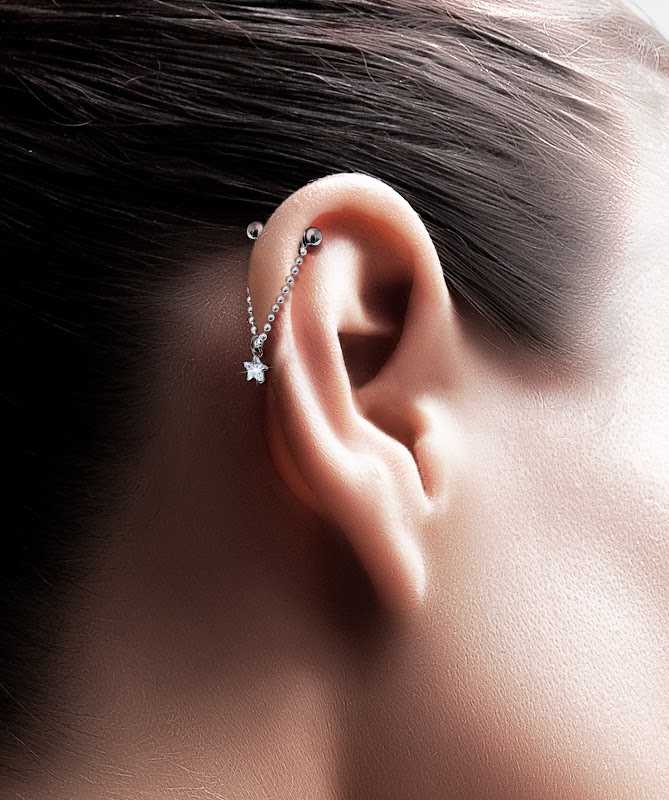 upper ear piercing chain replace your traditional bar ear piercing it  title=