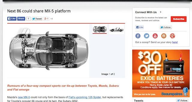 新しいトヨタ86はマツダの新型ロードスターとプラットフォームを共有!?