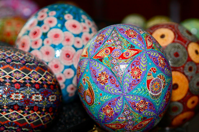 Grouping of Colorful Ostrich Egg Pysanky, Birds, Abstracts, Aboriginal, Floral