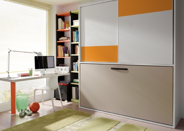 Cama abatible con armario puertas correderas - Habitacion juvenil cama abatible ...