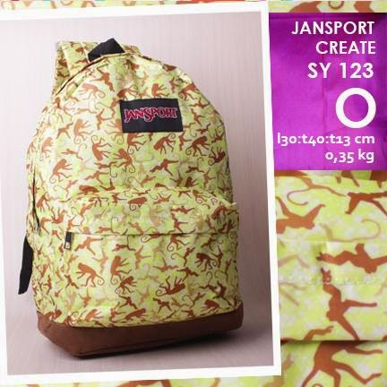 jual online tas ransel jansport kanvas kw murah motif monkeys
