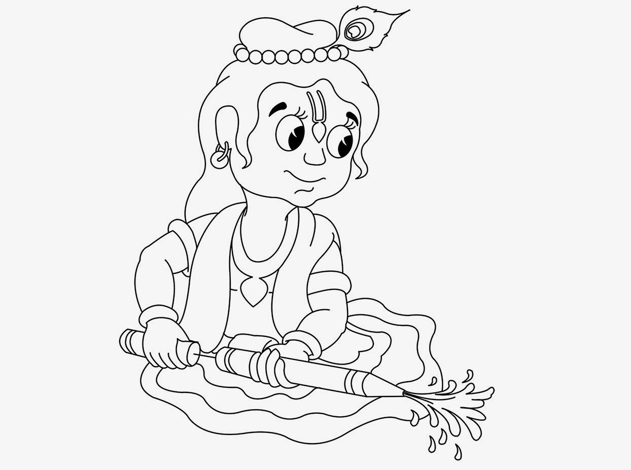 krishna pages for coloring - photo#23