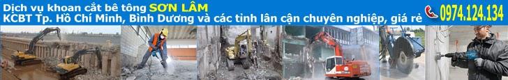 Khoan cắt bê tông TpHCM, Khoan cắt bê tông Bình Dương - Dịch vụ Khoan cắt bê tông giá rẻ chuyên nghiệp SƠN LÂM