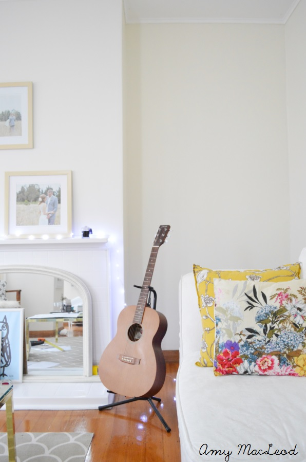 Colourful living room - white + yellow + floral by Amy MacLeod