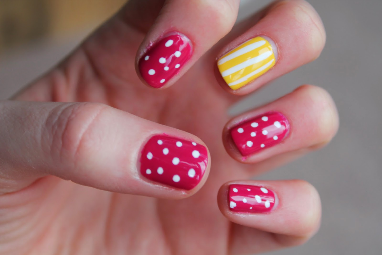 Pink Polka Dot and Yellow Stripy Nail Art