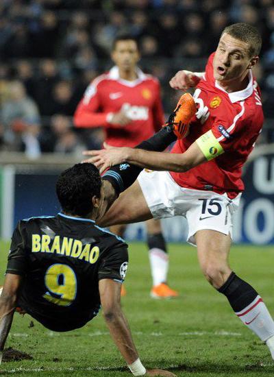 Champions League, Nemanja Vidic man Utd, Brandao Marseile
