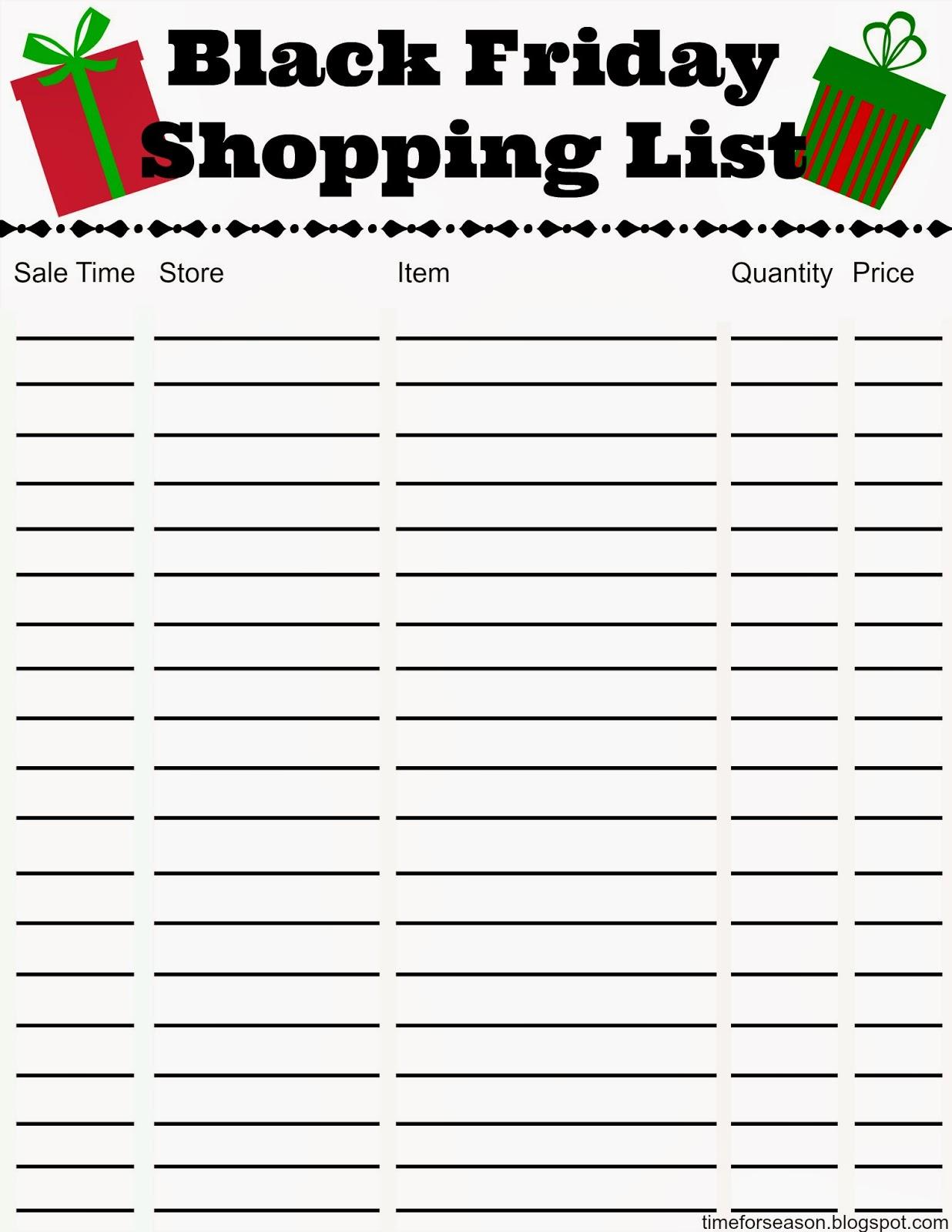 Free Black Friday Shopping List Printable – Shopping List Format