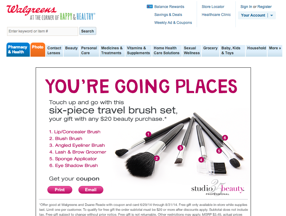 Walgreens six-piece brush set coupon