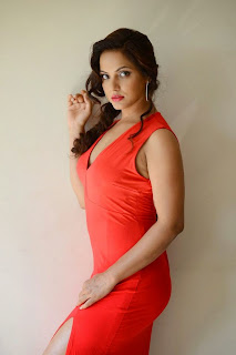 Neetu Chandra in Spicy Red Leg Split Gown in Mumbai Spicy Pics