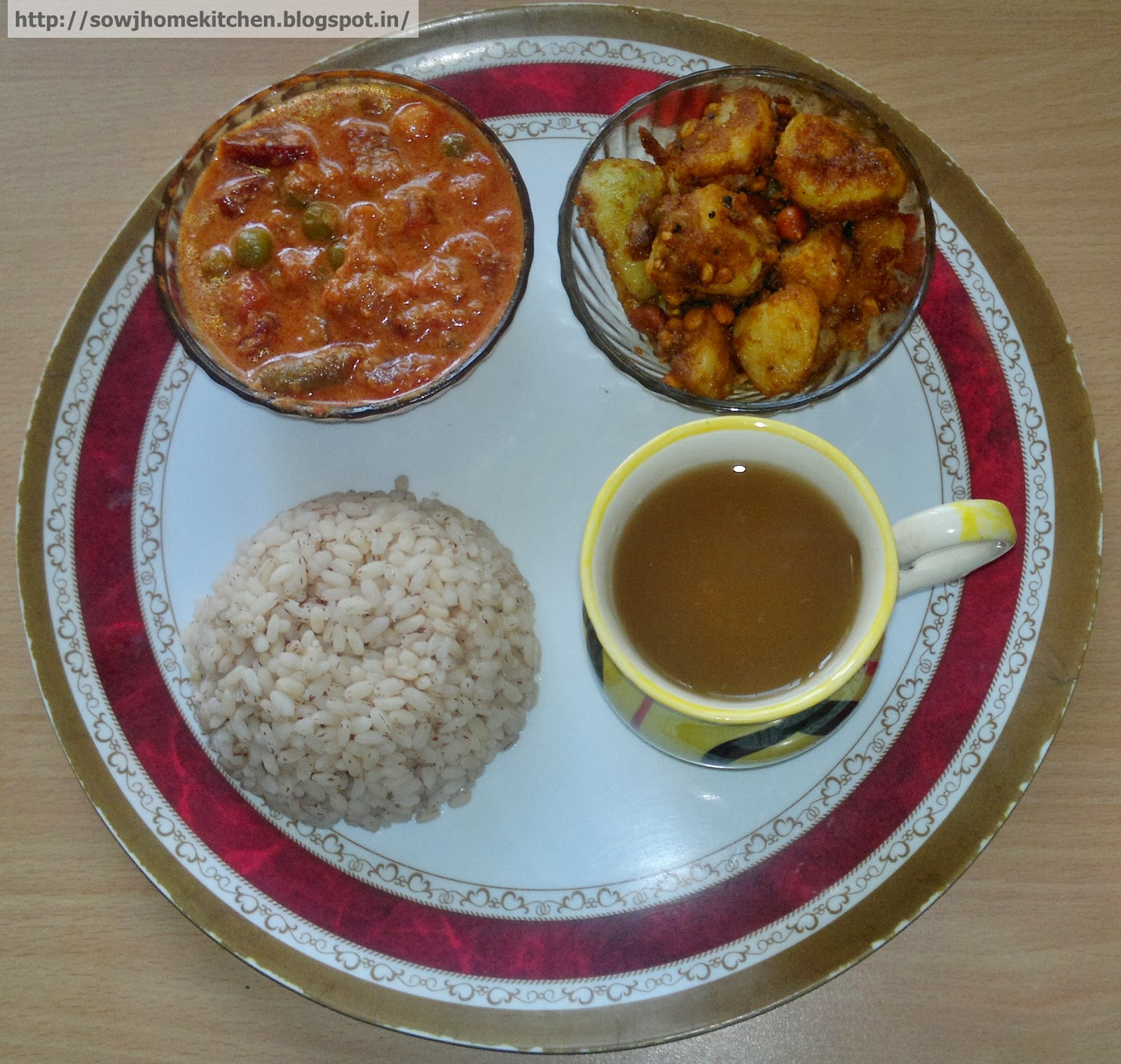 Lunch menu 4 - Brown Rice, Vegetable Kurma, Tomato Rasam and Potato ...