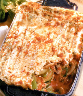Cheat's lasagne. Classic layered vegetarian lasagne intended to be cooked in less than 50 minutes.