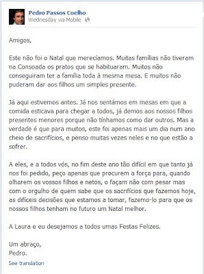 Mensagem Natal Pedro Passos Coelho