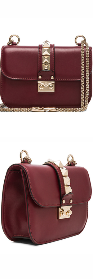 VALENTINO SMALL LOCK SHOULDER BAG shown in Crimson