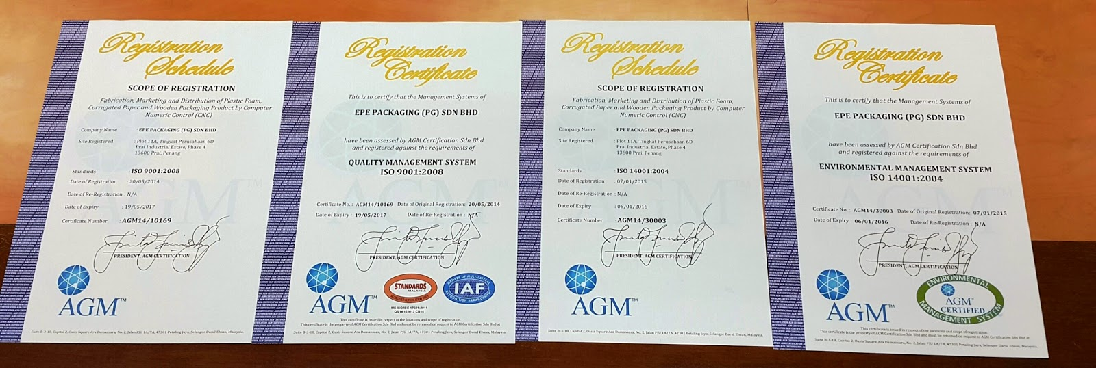 Iso 14001 Certified Certificate Presentation By Agm On 09 January