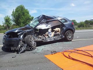 Estado en el que quedó el vehículo ocupado por la pareja