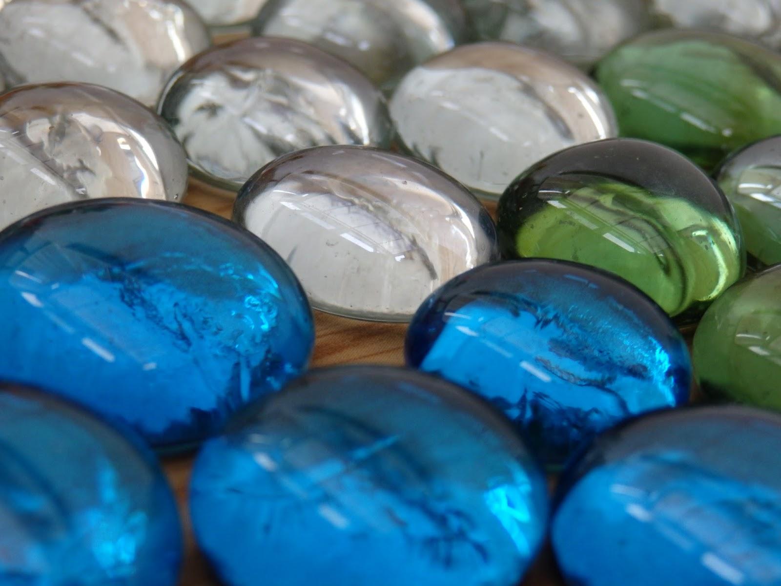 стекло, камни, синий, зеленый, белый