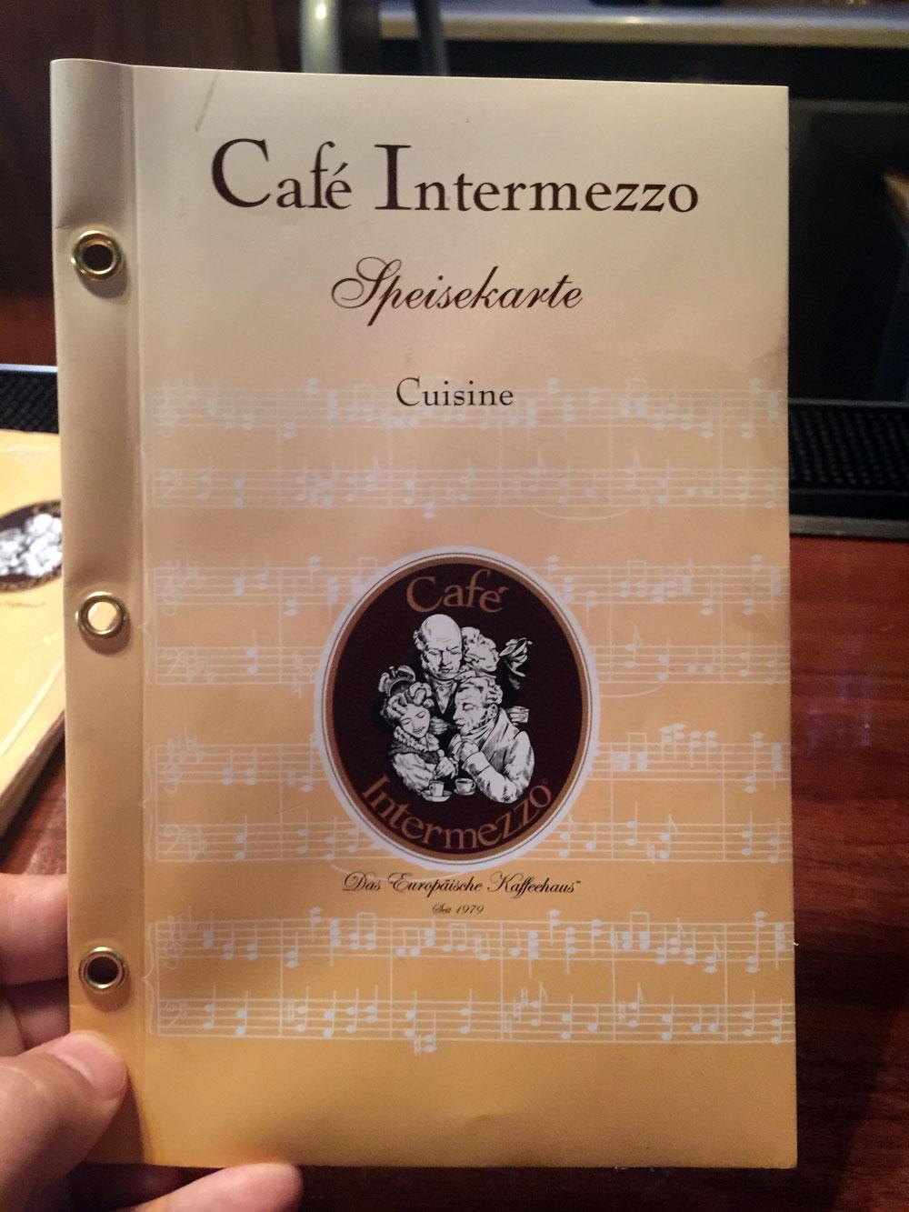 Cafe Intermezzo Drink Menu