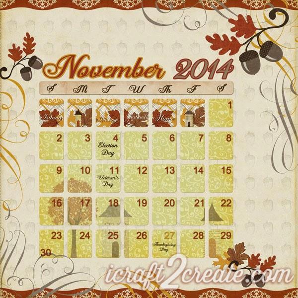 Lori Whitlock, Photoshop, Digital, Calendar, Reflections Fall, Aaron Script, November, Autumn, Fall, Thanksgiving