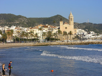 Romanesque church behind the Sitges beach