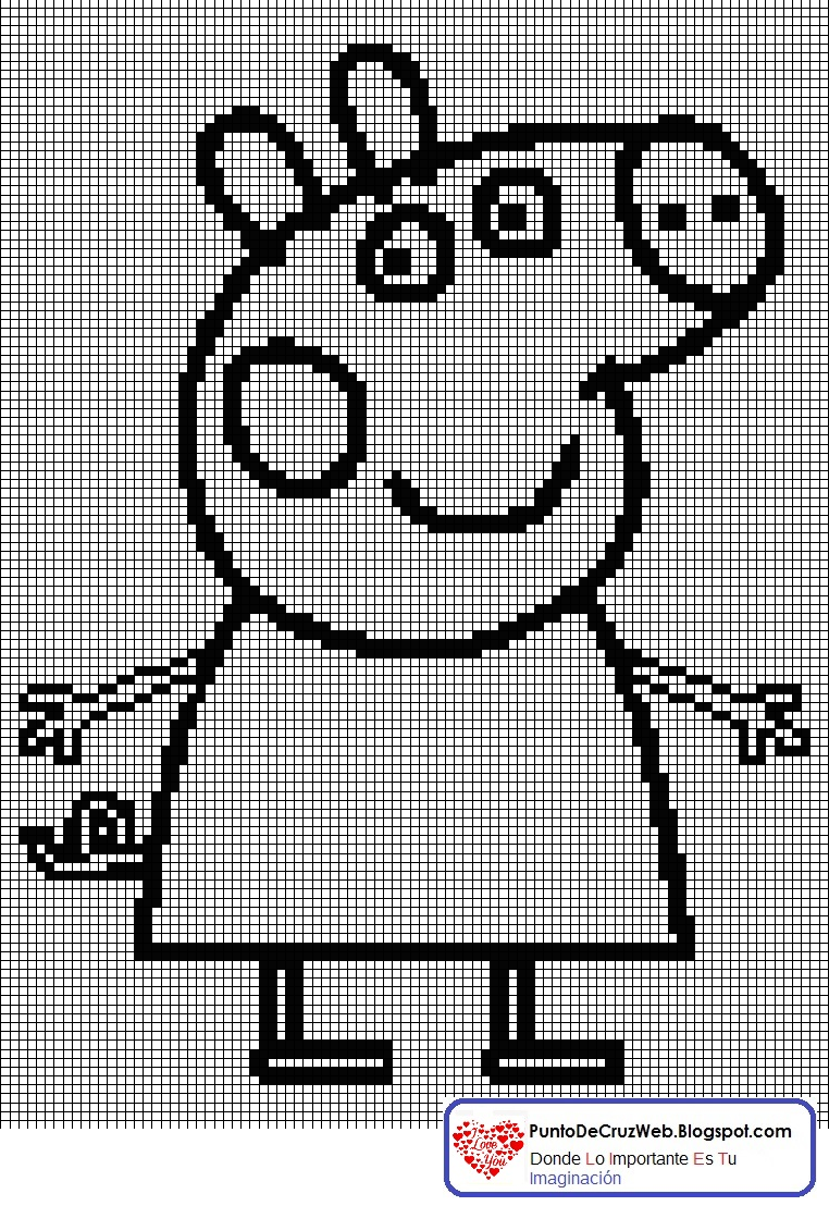 Punto De Cruz: Silueta Peppa Pig En Punto De Cruz