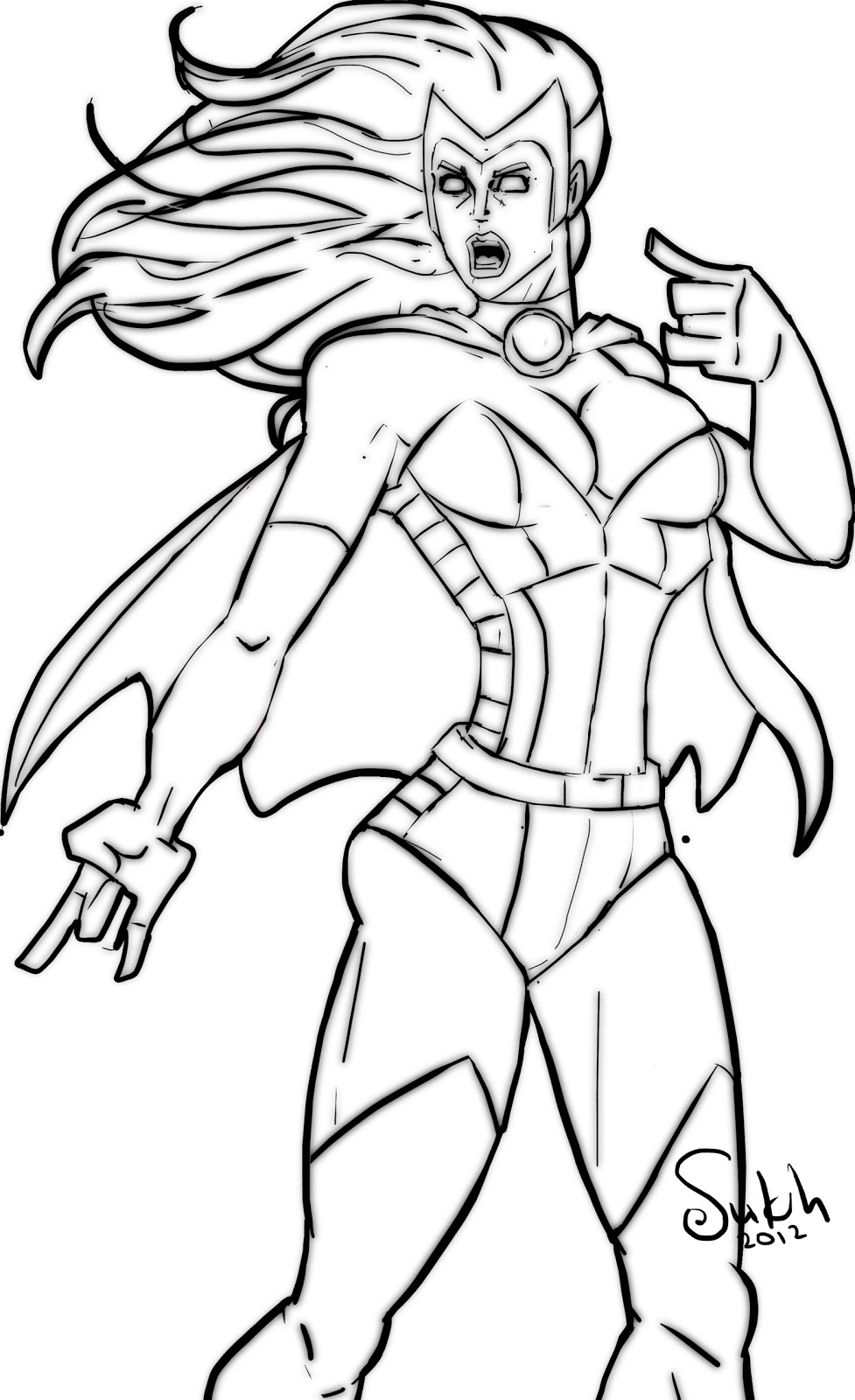 Free Super Hero Line Art For Colouring
