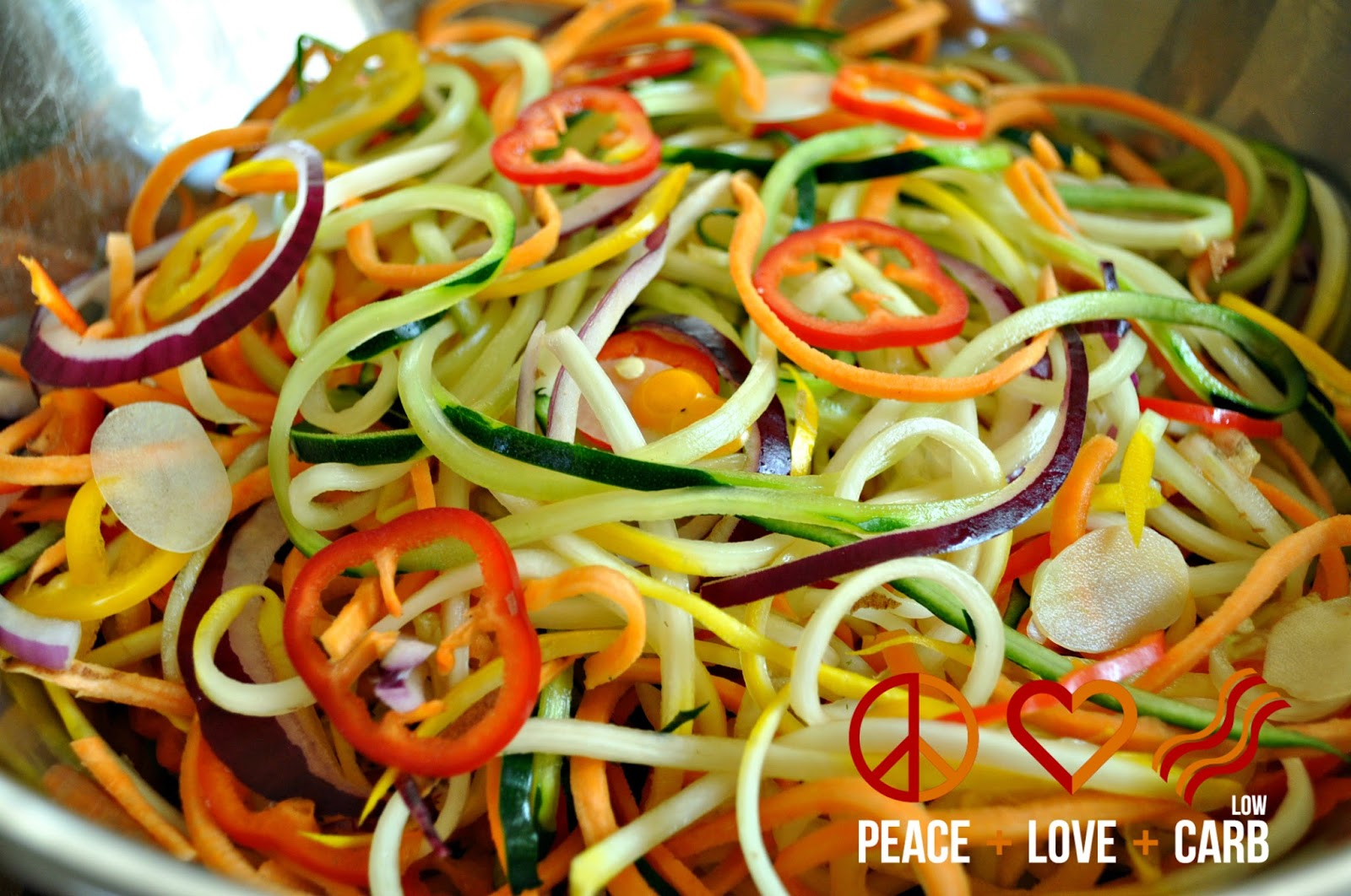 veggie noodles Directions place veggie noodles in large bowl sprinkle evenly with salt let rest about 10 min at room temp transfer noodles gently into colander (do not rinse) squeeze lightly using paper towel pat dry add noodles, vinaigrette, and mint to large bowl toss to combine.